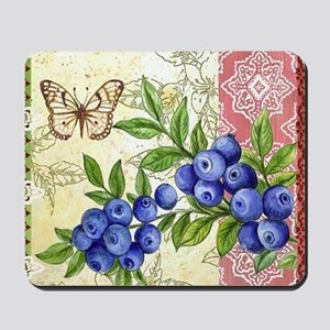FRENCH MODERN BUTTERFLY AND BLUEBERRY Mousepad